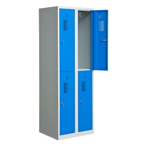 Elevskåp med 4 utrymmen, blå, bredare