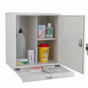 Medicinskåp, litet med utdragbar avlastningsskiva