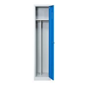 Omklädningsskåp, 1 dörr på höjden, blå, bredare