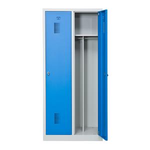 Omklädningsskåp, 2 dörrar på höjden, blå, bredare