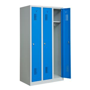 Omklädningsskåp, 3 dörrar på höjden, Blå