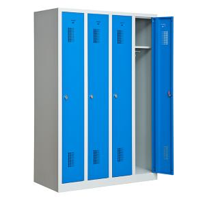 Omklädningsskåp, 4 dörrar på höjden, Blå